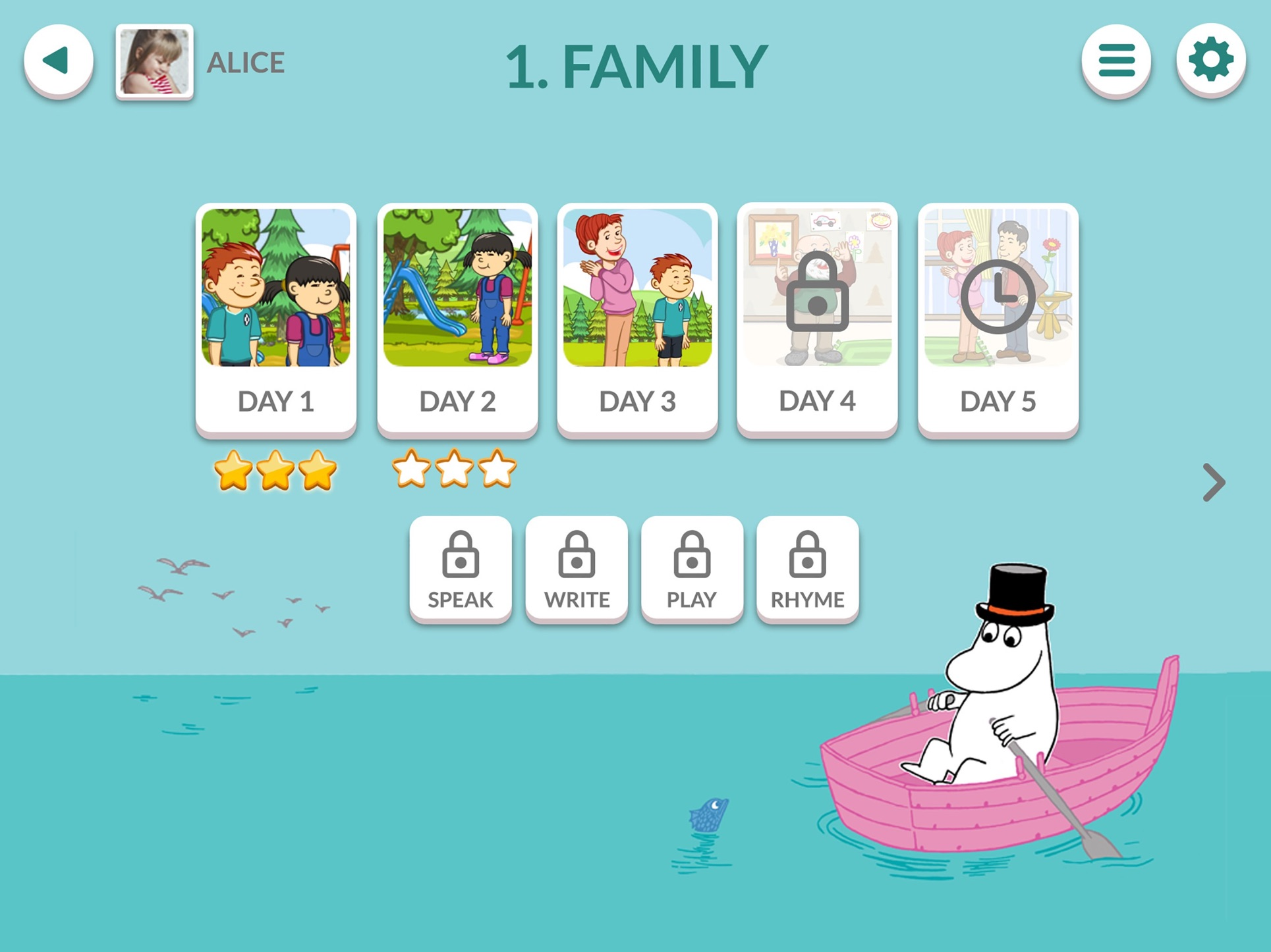 Moomin Language School 芬兰姆明少儿英语学习APP用户界面